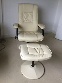Reclining chair & footstool faux leather.