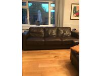 3 x 3 seated brown leather sofas