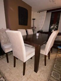 MIDERN SOLID MAHOGANY EXTENDING DINING TABLE & 6 HI-CHAIRS
