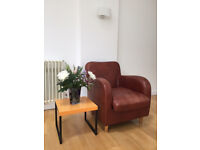 Leather armchair and footstool Habitat. One careful owner. In good condition.