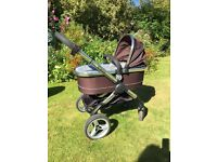 iCandy Peach pushchair and pram carry cot plus accessories