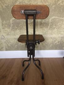 Antique Vintage Industrial French Chair Stool Factory Not Singer Evertaut