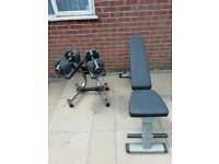 Bowflex adjustable dumbbells weights with stand and bench