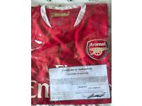 Hand signed arsenal unframed shirt with coa