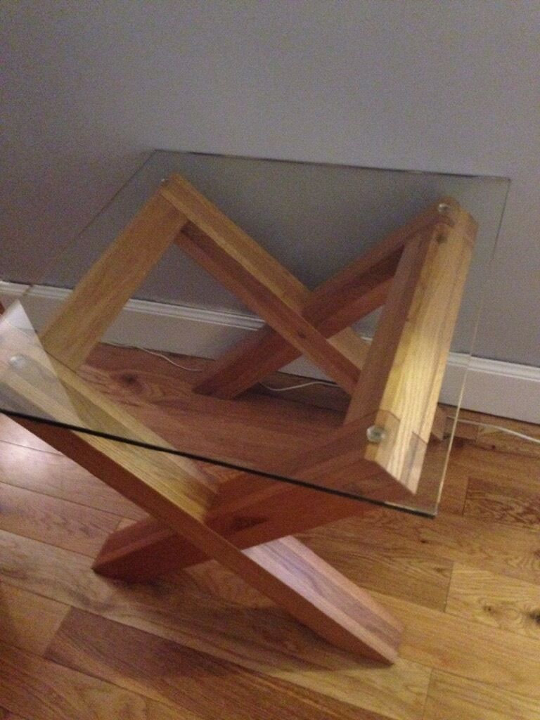 Next Solid Oak And Glass Side Table In Lanark South