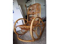 Retro vintage bamboo/wicker rocking chair