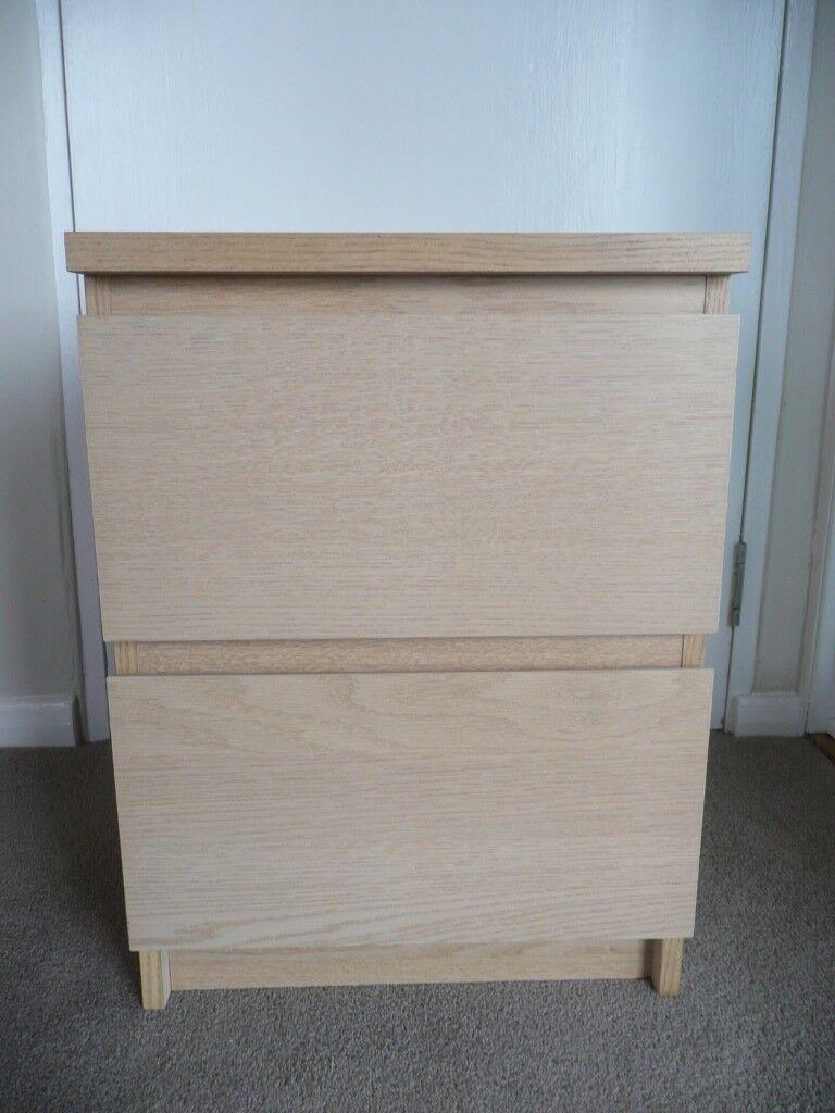 Ikea Malm White Stained Oak Veneer 2 Drawer Bedside Cabinet