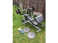 Weight bench with iron weights