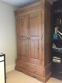 Antique pine solid double wardrobe.