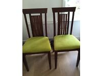 Set of 4 dining chairs - wood with fabric - excellent state