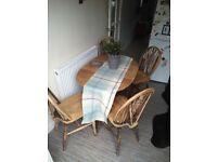 Lovely old solids, hardwood drop leaf Table & 4 chairs.