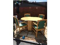Real Wooden Pine Table And 4 Chairs