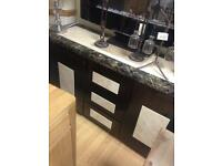Crema and mocha side board marble effect