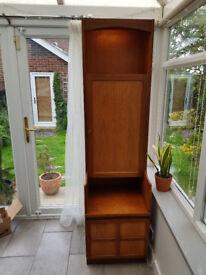 Retro vintage tall teak Nathan drinks cabinet unit cupboard display 1960s