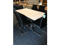 Modern exDisplay extend gloss table -and six new black chairs