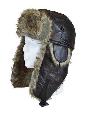 Hat 1201 Black Faux Fur Aviator Trooper Trapper Cap Winter Hat (USA Seller)