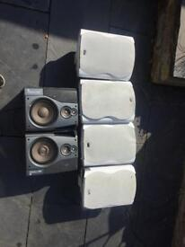 Six speakers (4 with wall brackets)