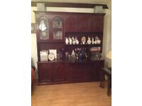 Beautiful Mahogany display/wall unit/dresser with drinks cabinet