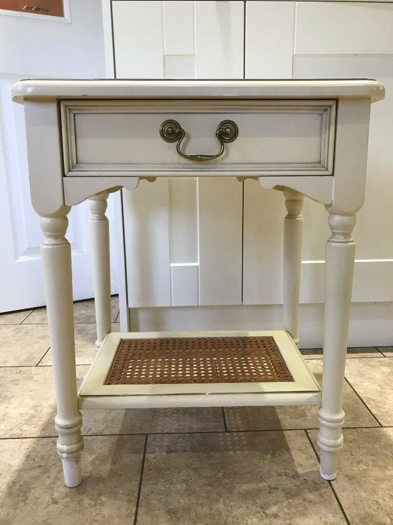 Cream Bedside Tables: Laura Ashley Clifton Cream 1 Drawer Bedside Cabinet / Lamp