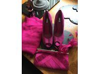 Pink shoes , bag ,fascinator and pashmina
