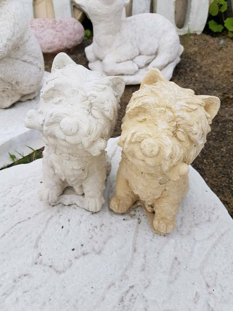 Concrete Scottie dog garden ornament