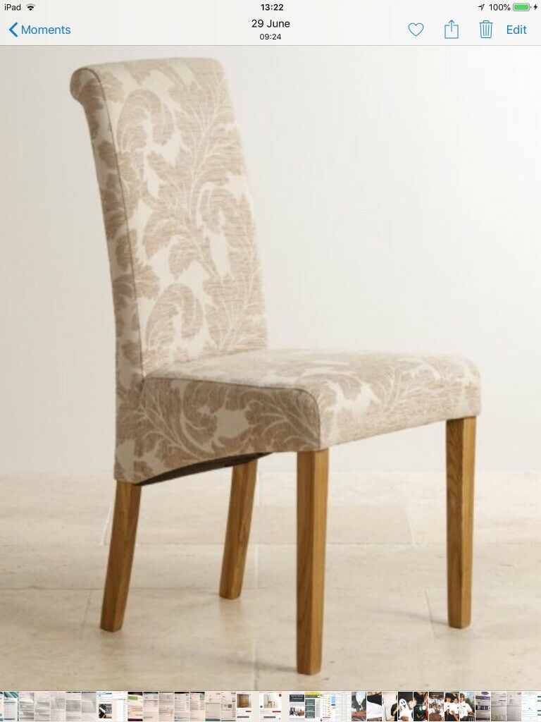 Oak Furniture Land Scroll Back Beige Patterned Fabric