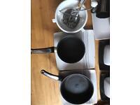 Various bowls, plates, cups, pans, glasses