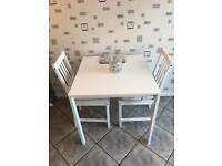 White Ikea kitchen table & chairs