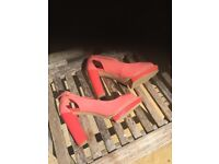 M&S Limited Collection Ladies heels, shiny coral colour.. Size 6