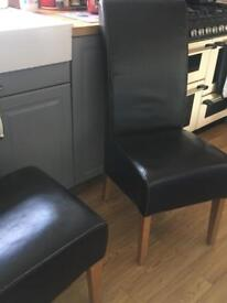 4 faux leather brown chairs