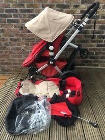 Complete Bugaboo Chameleon set in Red & Sand with buggy board & Too seat plus fab extras! £150