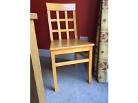 Set of 6 dining chairs with lattice backs in solid Beech wood