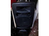 skytec active speakers (built in 300w -600w amp in each speaker) 1200w in total rrp £227 when new