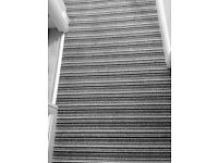 Grey white and black modern stair and landing carpet