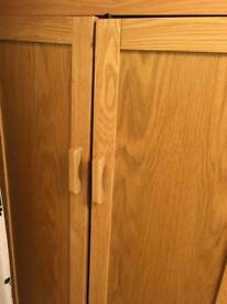 Solid oak toddler bed and matching wardrobe
