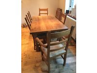 Solid Oak Dining Table, 6 chairs (2 of which are carvers) + 2 added leaves so can seat up to 10