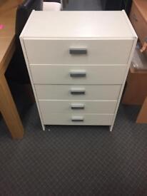 Capella 5 drawer chest white