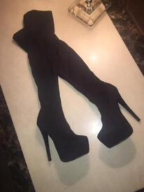 Black thigh high stiletto heels