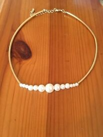 Gold & Small Pearl Necklace