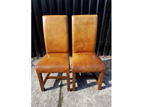 Pair of Rustic Leather and Oak Dining Chairs (4 Pairs Available)