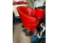 Red hairdressing chairs