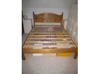 Pine double bed base and pocket sprung mattress