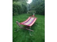 HAMMOCK WITH HARD WOODEN FRAME