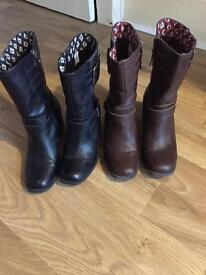 Rocket Dog boots - size UK6 - one brown pair, one black pair