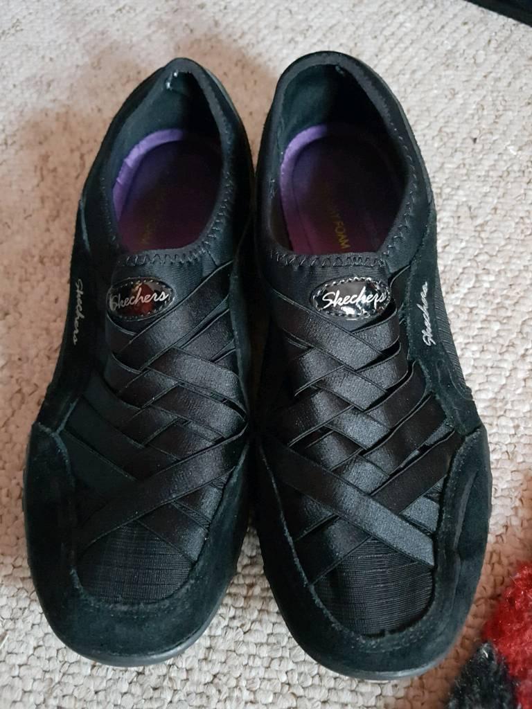 ef757e7094a7 Skechers Memory Foam Black Trainers Shoes Women s Size UK 6. York ...