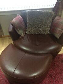 DFS leather Cuddle Chairs x 2 + Matching armchair!!