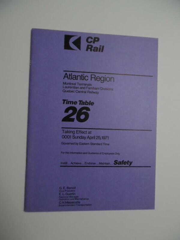 1971 Canadian Pacific Rail Employee Timetable 26 Atlantic Region Vintage ETT VG
