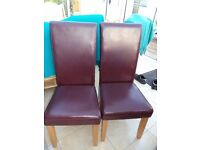 PAIR BURGUNDY LEATHER DINING CHAIRS