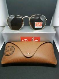 Ray-ban hexagonal sunglasses brown tint