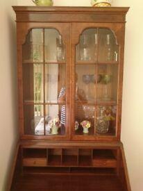 Vintage 1950/60s Beautiful Walnut Bureau Bookcase